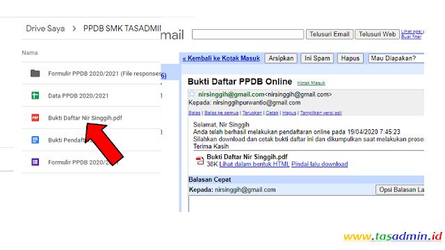 bukti pendaftaran ppdb google form  otomatis ke email masing-masing pendaftar