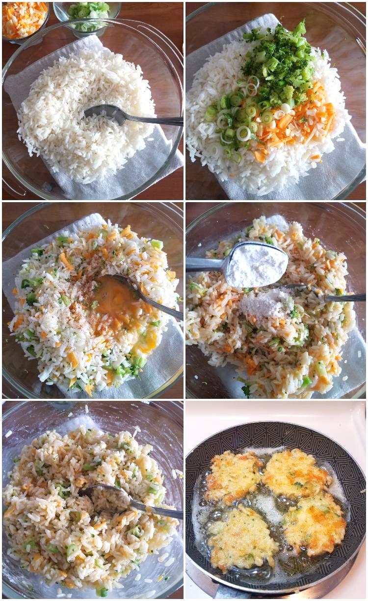 Cómo hacer torticas con arroz que sobra, collage paso a paso