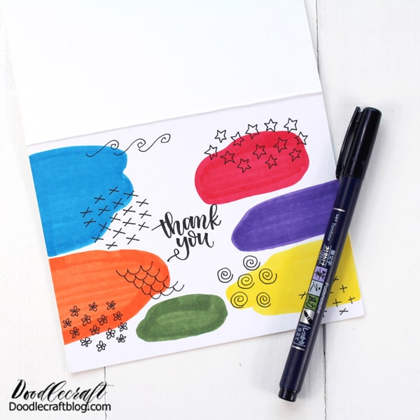 Use the Fudenosuke Brush Pen to write a sentiment on the card. This is a great finished card that mails easily with no extra effort. Make a bunch and then letter the sentiment as needed.