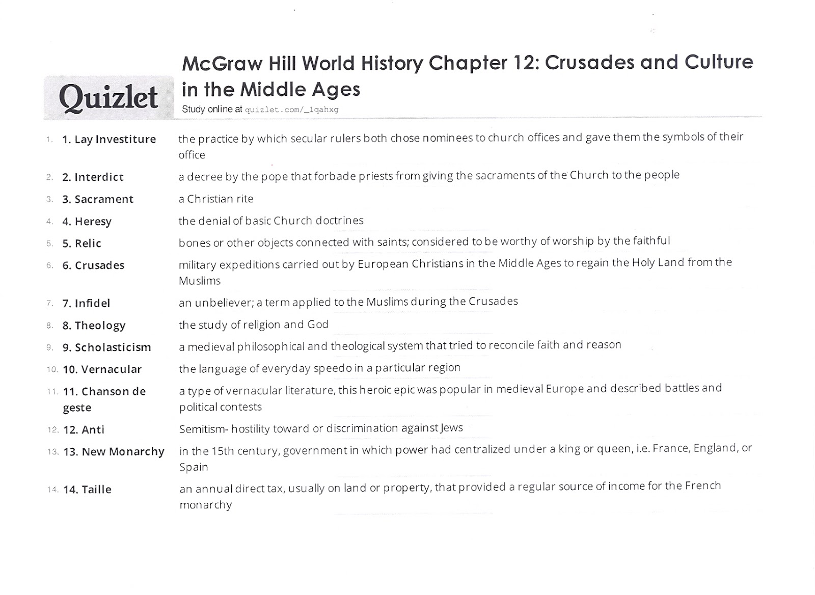 Mr E S World History Page Chapter 12