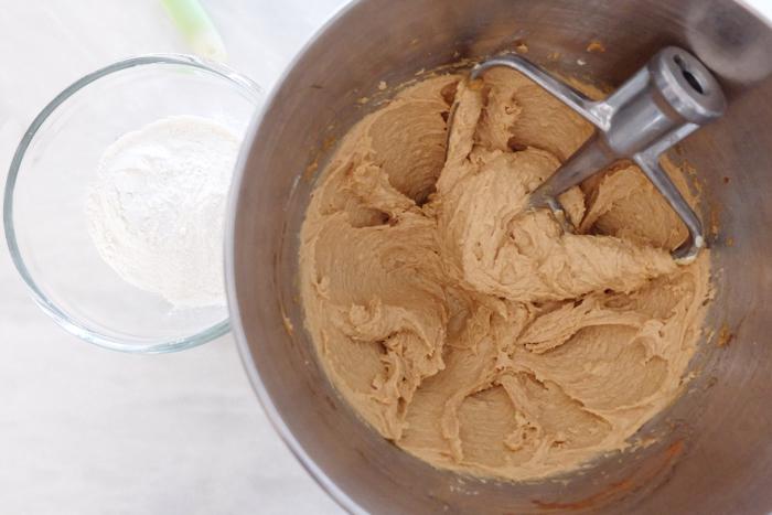 wet ingredients blended in mixer