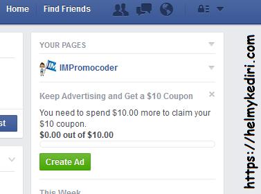 $ 10 pada iklan FB.