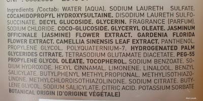 composition Gel douche sensoriel aux trois fleurs blanches de Lierac