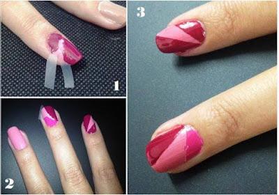 Diseño de uñas de dos colores sencillo  y bonito