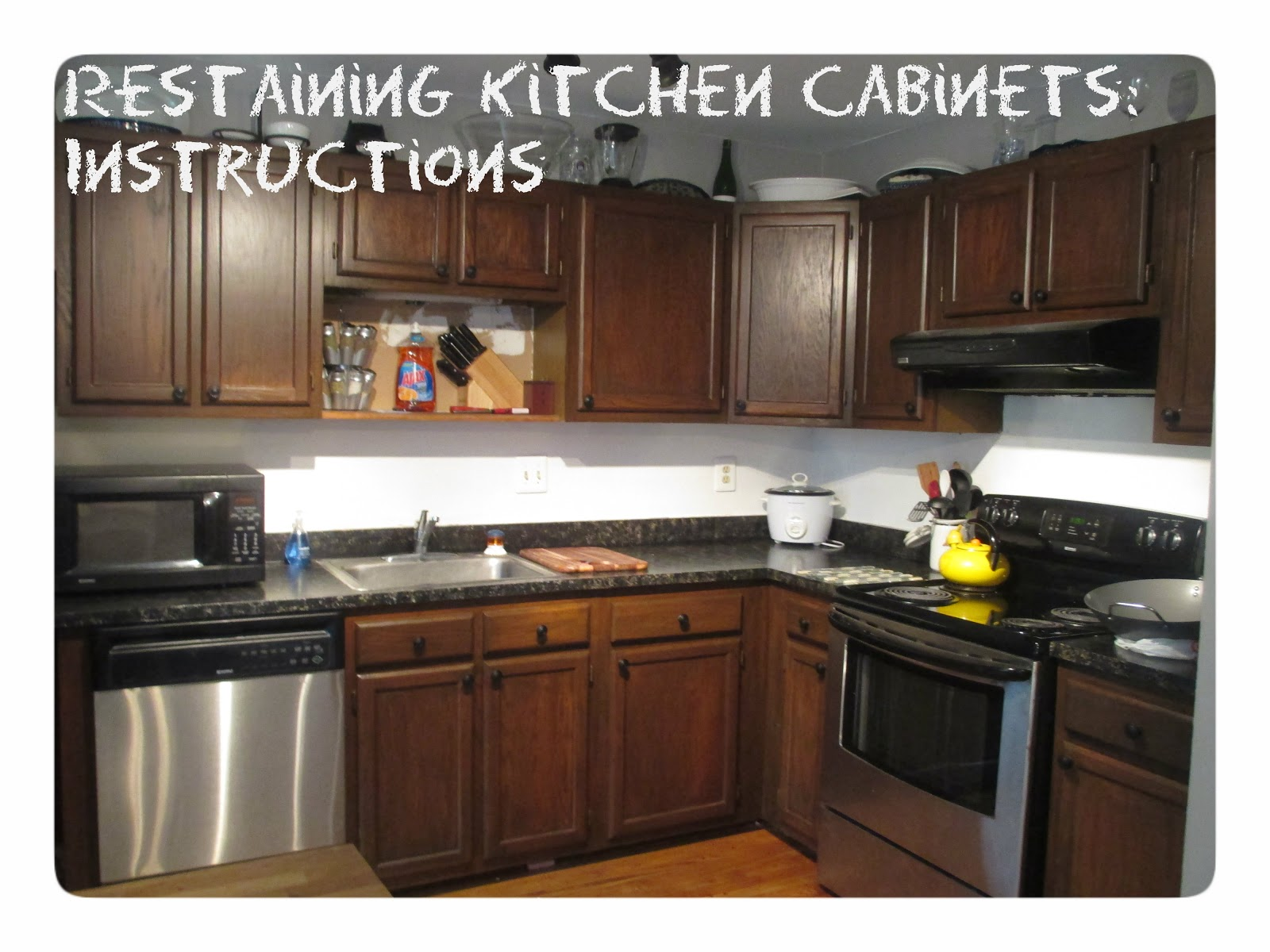 instructions staining kitchen cabinets