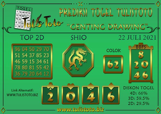 Prediksi Togel GENTING DRAWING TULISTOTO 22 JULI 2021
