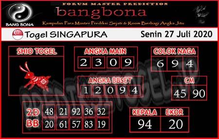 Prediksi Togel Bangbona Singapura Senin 27 Juli 2020