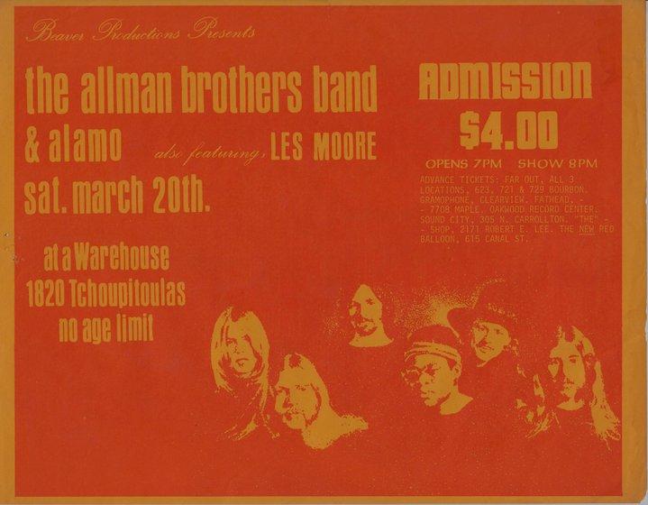 Anuncio de revista del concierto Allman - Alamo en 1971.