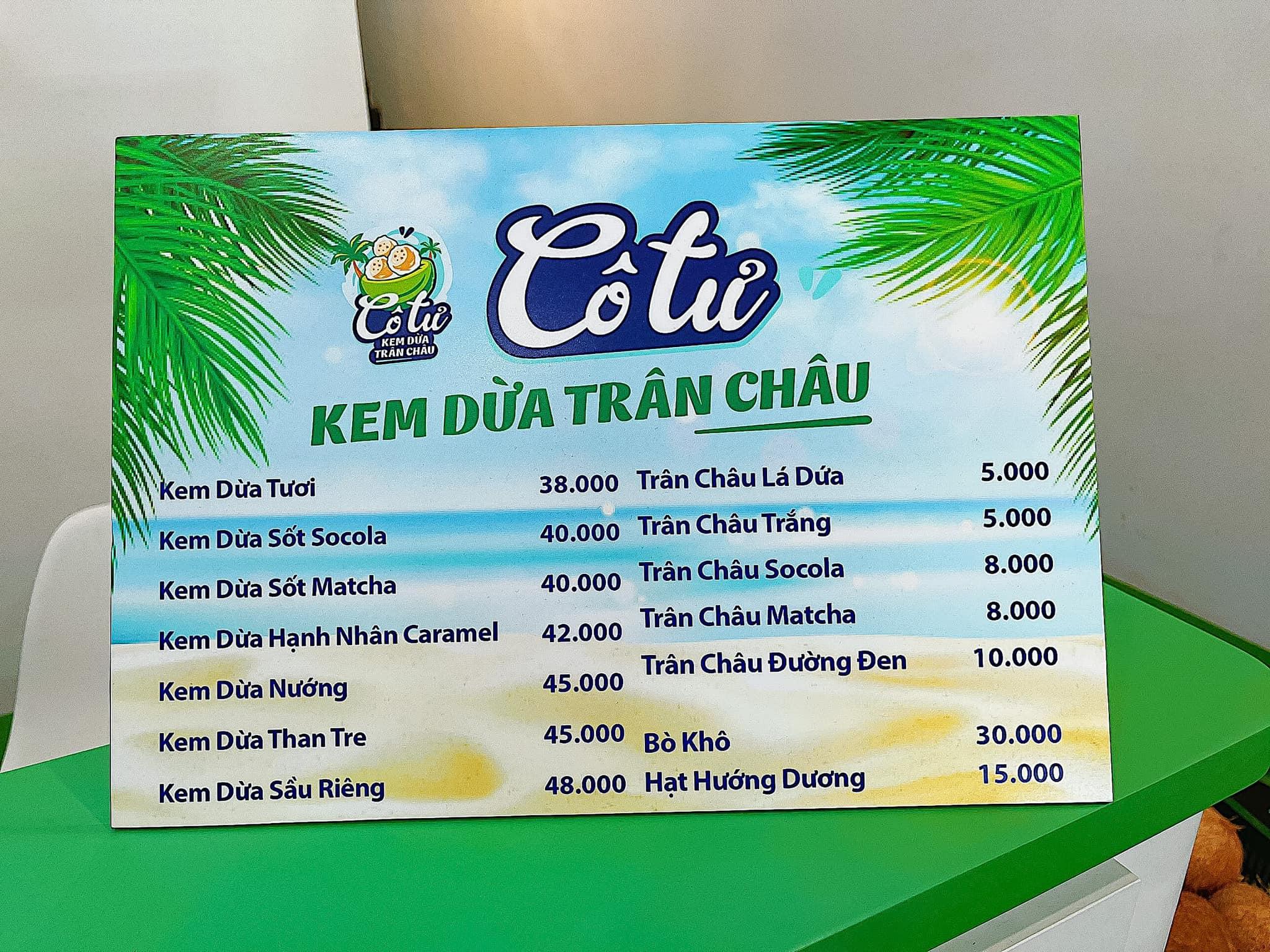 Kem dừa trân châu Cô Tư Quận 1 - Kem dừa trân châu ngon Sài Gòn