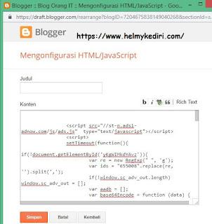 Cara pasang script anti adblock iklan adnow,payclick diblogger