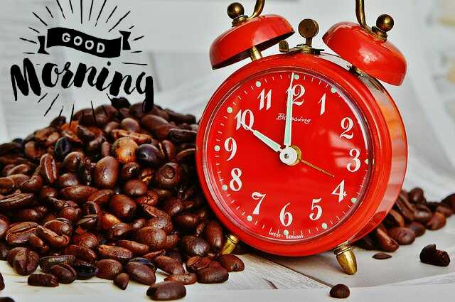 Good Morrning image with alarm clock red color