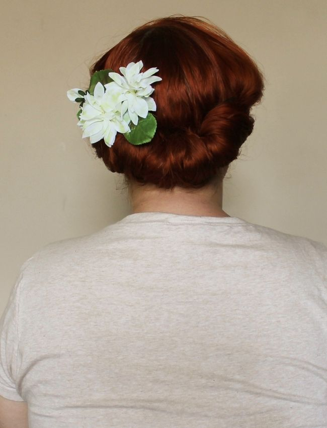 gibson roll hair flower vintage hair styling tutorial