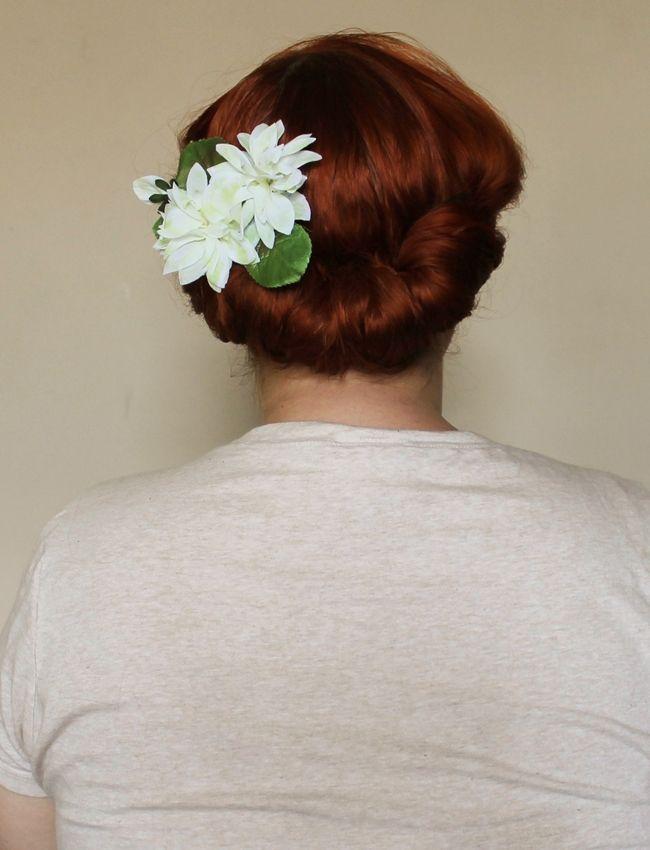 gibson roll hair flower vintage hair styling tutorial