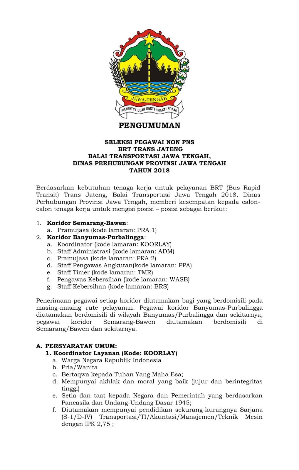 Lowongan Kerja  Rekrutmen Non PNS Dinas Perhubungan Provinsi Jawa Tengah Besar Besaran    Oktober 2018