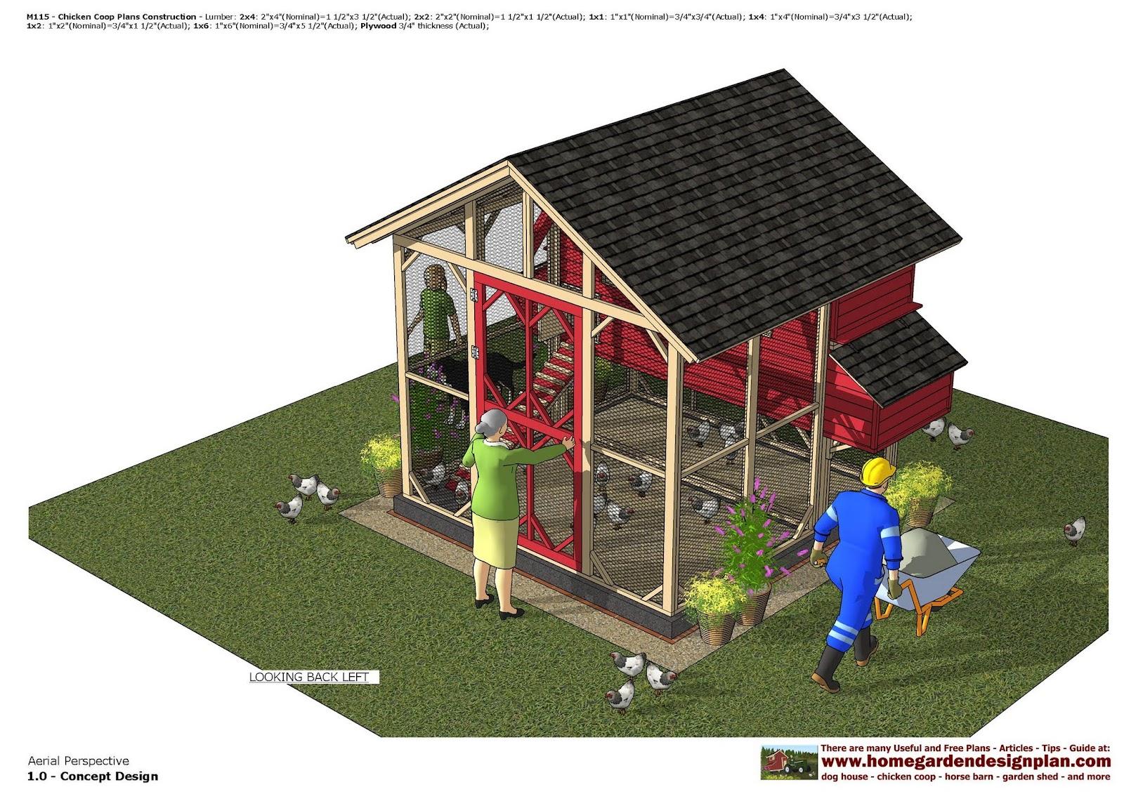 Home garden plans m115 chicken coop plans chicken for 3 chicken coop