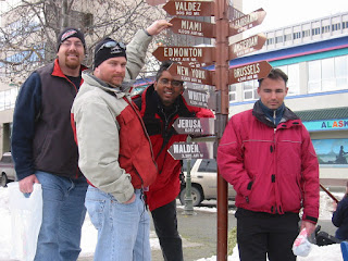 David Brodosi and friends in downtown Anchorage Alaska