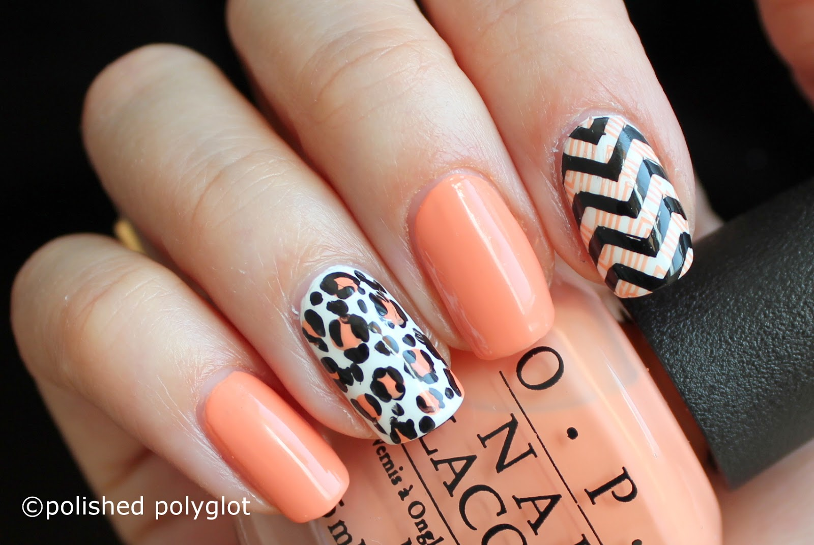 Nail Art │ Peach, black and white skittlette for Spring / Polished ...
