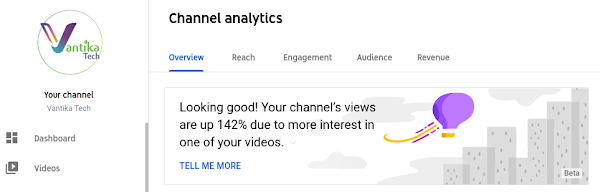 Vantika Tech - YouTube Analytics