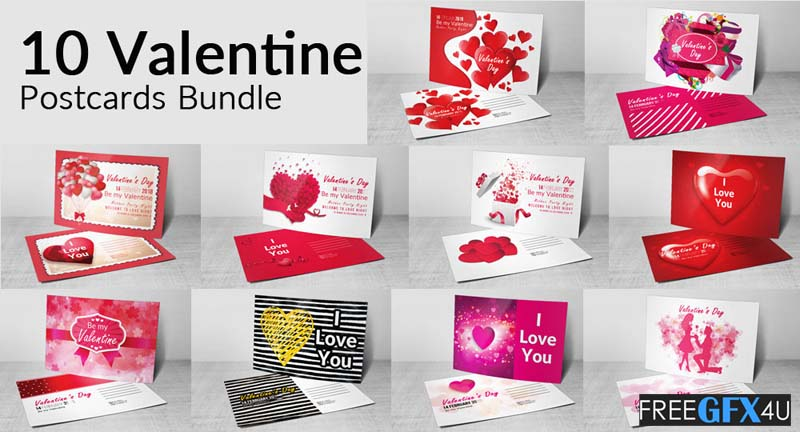 10 Valentines Day Flyer & Postcard PSD Pack