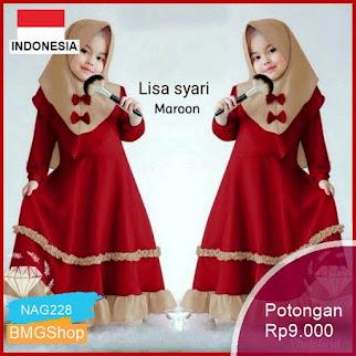 NAG228 Baju Anak Muslimah Lisa Syari Trenddy Lucu Murah Bmgshop