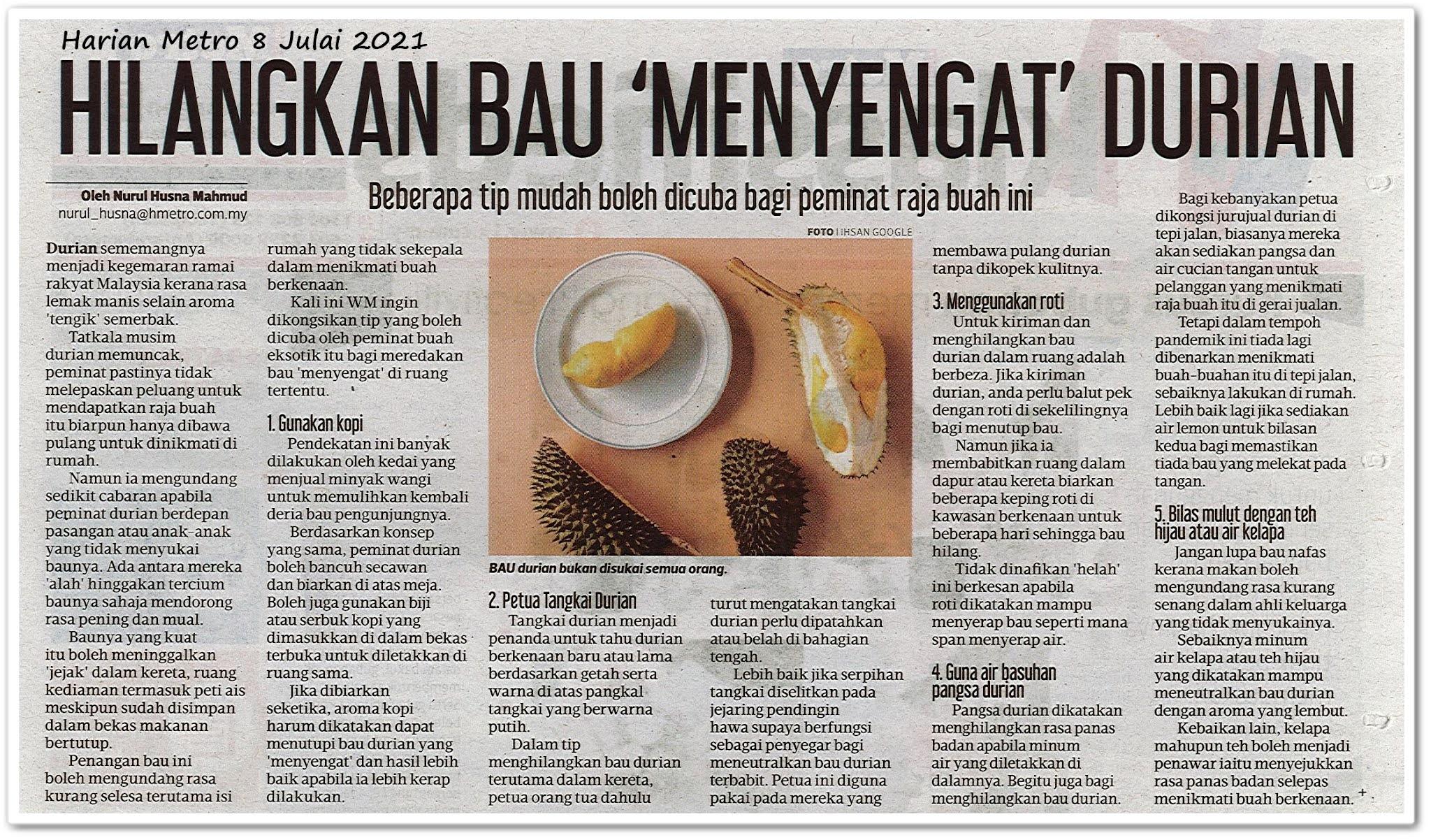 Hilangkan bau 'menyengat' durian