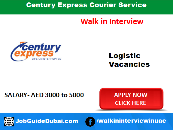 Century Express Courier Career for Delivery person job in Dubai