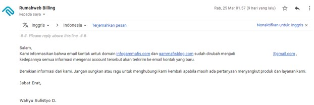 Perubahan Email Kontak Rumahweb