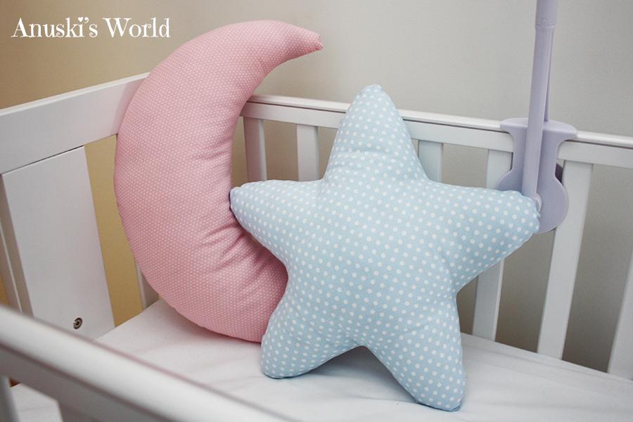 Para la luna y la estrella he elegido dos telas de topitos - Cojines para bebes ...