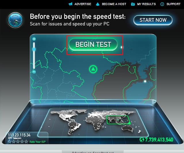 Cách kiểm tra tốc độ mạng và tên mạng đang sử dụng