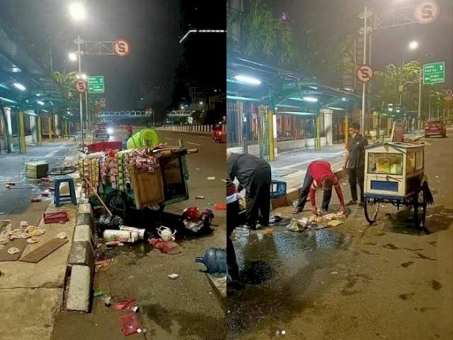 Tak Punya Hati, Pedagang Kaki Lima Ini Ditabrak Lari sampai Dagangannya Kocar Kacir di Jalan Raya