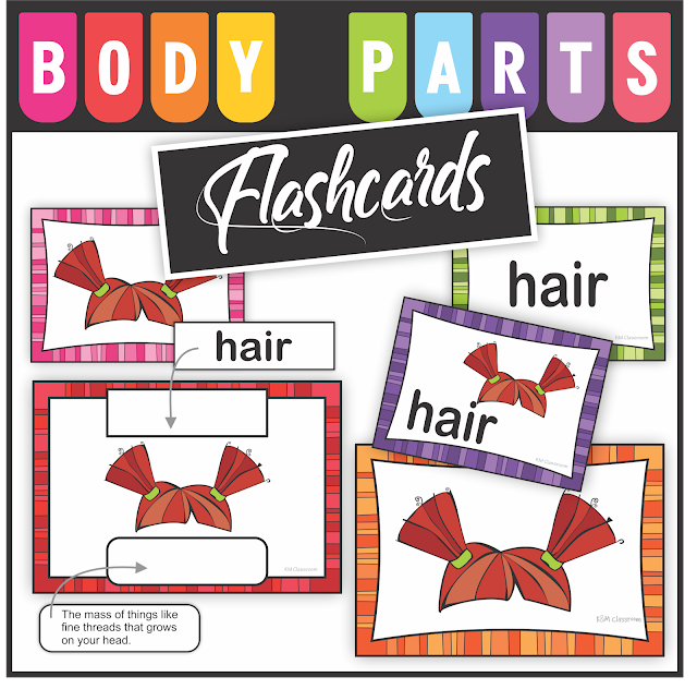 KM Classroom: Body Parts Flashcards, Word Cards