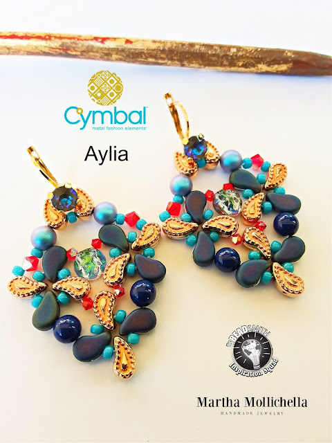 Aylia earrings paisley duo the Beadsmith Martha Mollichella