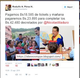Deposito de Bs.23.895 para completar los Bs.42.480 decretados por @NicolasMaduro Para el día de hoy