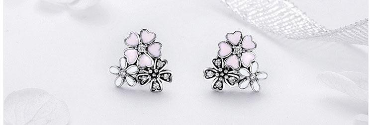 白粉黑三朵花 925純銀滴釉耳環