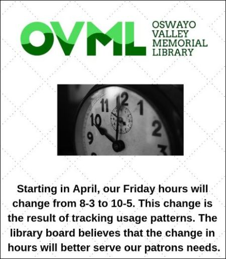 April- Oswayo Valley Memorial Library