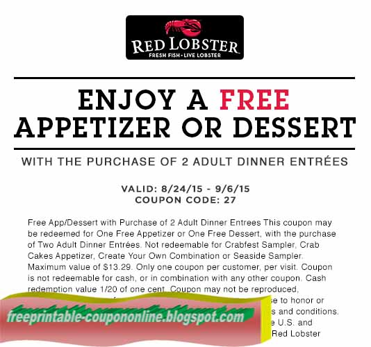 Print the coupons below and take to a participating Red Lobster to save. Print out coupons for Red Lobster. BeFrugal updates printable coupons for Red Lobster every day.