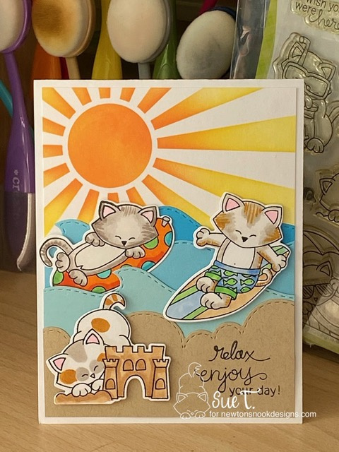 Relax, enjoy your day by Sue T. features Sunscape, Newton's Summer Vacation, Newton's Perfect Wave,  Sky Borders, and Sea Borders by Newton's Nook Designs; #newtonsnook