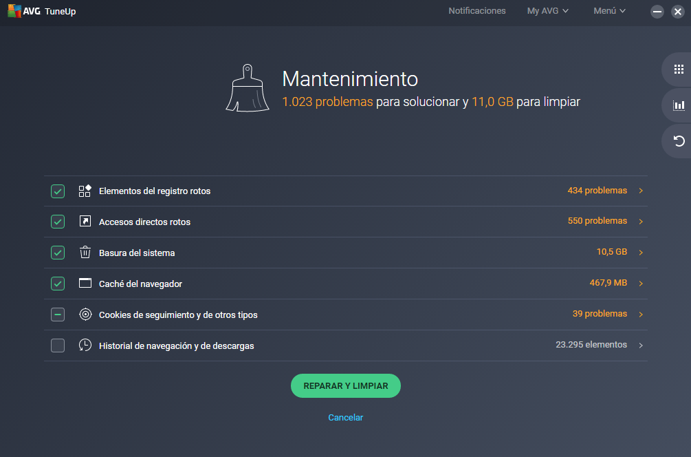 AVG TuneUp 2019 Español Máximo Rendimiento para su PC