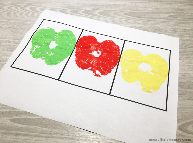 apple printing process art for kids