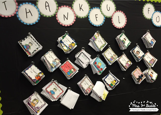 A thankful board is a great way to have students reflect weekly on things that they are thankful for.  Then the students can have a collection of things to reflect on!