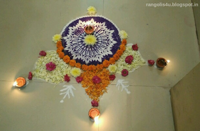 Deep Jyoti Rangolis with Flowers