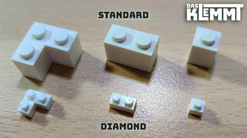 DAS KLEMMT Größenvergleich Standard und Diamond Brick