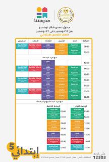 جدول حصص المرحلة الابتدائية على قناة مدرستنا الاسبوع الخامس