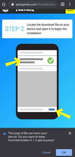 تحميل وتثبيت لعبة Fortnite على هواتف Android