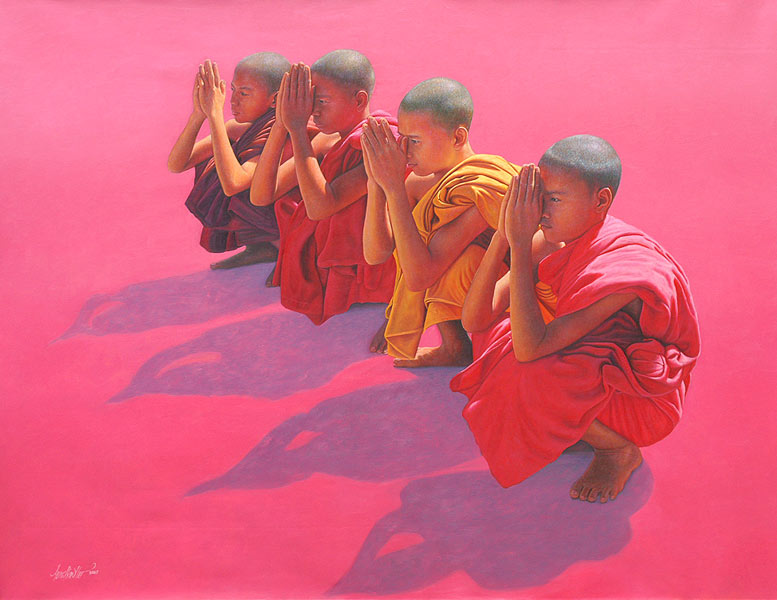 Aung Kyaw Htet 1965 | Burmese painter of monks