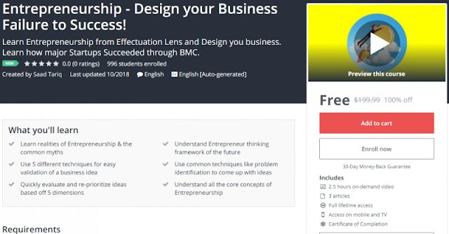 [100% Off] Entrepreneurship - Design your Business Failure to Success!| Worth 199,99$