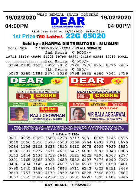 Lottery Sambad 19.02.2020 West Bengal Lottery Result 4 PM