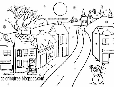 Creative clipart Xmas snow countryside frozen village Christmas scene drawing ideas for winter time