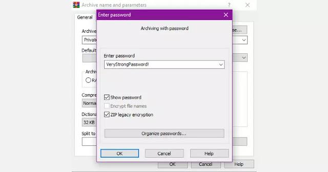 Configuración de WinRAR captura de pantalla de contraseña de acrhive