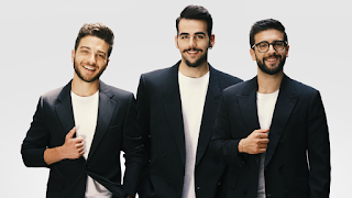 Gianluca Ginoble (left), with Ignazio Boschetto and Piero Barone on the cover of Il Volo's latest album